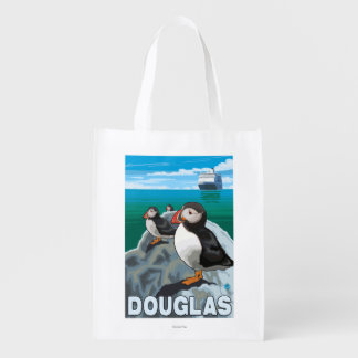 Papagaio-do-mar & navio de cruzeiros - Douglas, Sacola Ecológica Para Supermercado