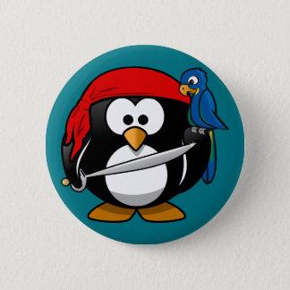 Papagaio do pinguim do pirata bóton redondo 5.08cm