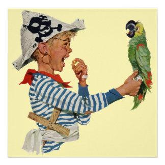Papagaio do pirata do menino do vintage festa de convites personalizado
