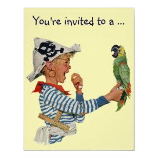 Papagaio do pirata do menino do vintage, festa de convite personalizado