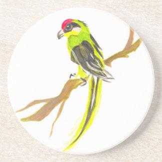 Papagaio em um ramo. Pintura da aguarela Porta Copos De Arenito