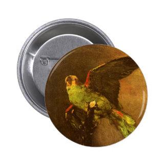 Papagaio verde por Vincent van Gogh, belas artes Bóton Redondo 5.08cm