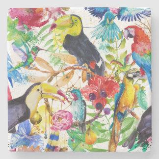 Papagaios coloridos 2 da aguarela porta copos de pedra