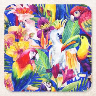 Papagaios da aguarela porta-copo de papel quadrado