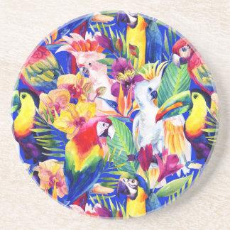Papagaios da aguarela porta copos de arenito