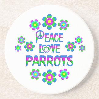 Papagaios do amor da paz porta copos de arenito