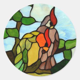 Papagaios do vitral adesivo em formato redondo