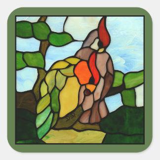 Papagaios do vitral adesivo em forma quadrada