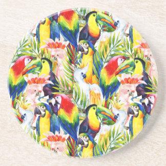 Papagaios e folhas de palmeira porta copos de arenito