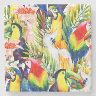 Papagaios e folhas de palmeira porta copos de pedras