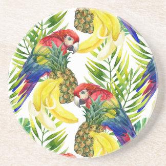 Papagaios e fruta tropical porta copos de arenito