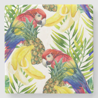 Papagaios e fruta tropical porta copos de pedra