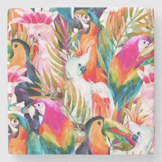 Papagaios & folhas de palmeira 2 porta copos de pedra