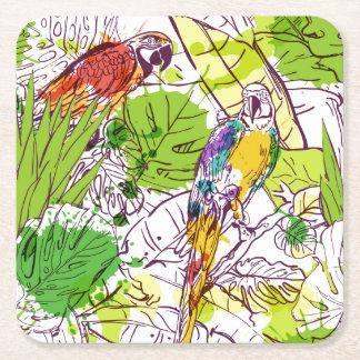 Papagaios tropicais porta-copo de papel quadrado