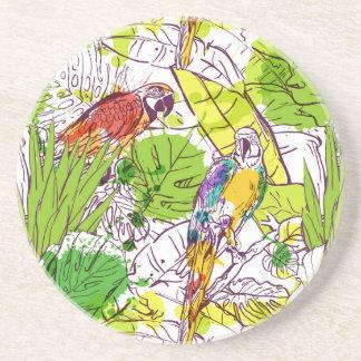 Papagaios tropicais porta copos de arenito