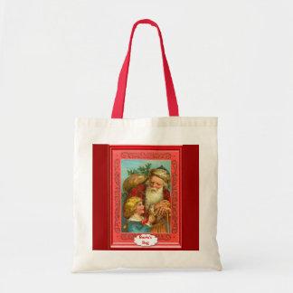 Papai noel amigável com criança bolsa para compras