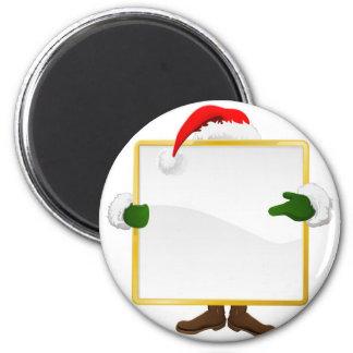 Papai noel atrás do sinal do Natal Imas De Geladeira