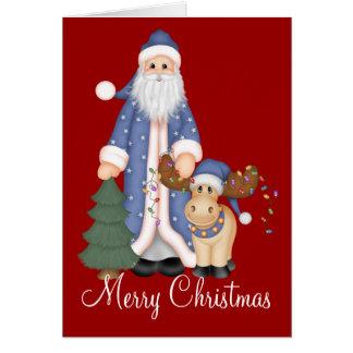 Papai Noel azul com o cartão dos alces do feriado