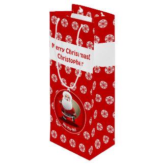 Papai Noel bonito com um cheio do saco dos Sacola Para Vinho
