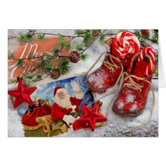Papai noel bonito e seu cartão de Natal das