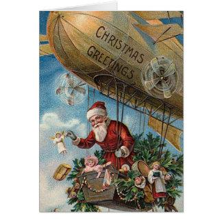 """""""Papai Noel cartão de Natal de um dirigível"""""""