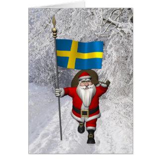 Papai Noel com a bandeira da suecia Cartão Comemorativo