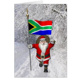 Papai Noel com a bandeira de África do Sul Cartão Comemorativo