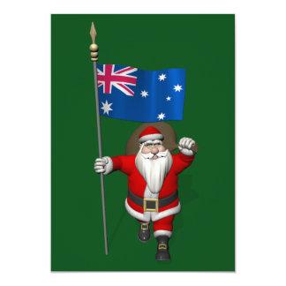 Papai Noel com a bandeira de Austrália Convite 12.7 X 17.78cm