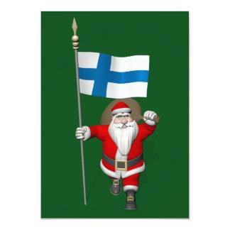 Papai Noel com a bandeira de Finlandia Suomi Convites
