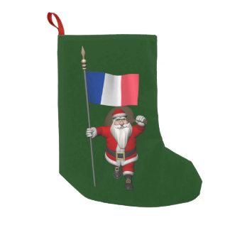 Papai Noel com a bandeira de France Meia De Natal Pequena