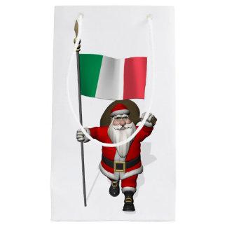 Papai Noel com a bandeira de Italia Sacola Para Presentes Pequena
