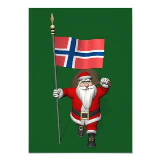 Papai Noel com a bandeira de Noruega Convite 12.7 X 17.78cm