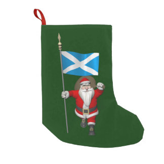 Papai Noel com a bandeira de Scotland Meia De Natal Pequena