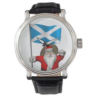 Papai Noel com a bandeira de Scotland Relógio De Pulso