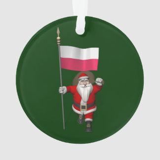 Papai Noel com a bandeira do Polônia Ornamento