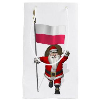 Papai Noel com a bandeira do Polônia Sacola Para Presentes Pequena