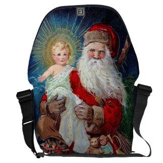 Papai Noel com criança do cristo Bolsas Mensageiro