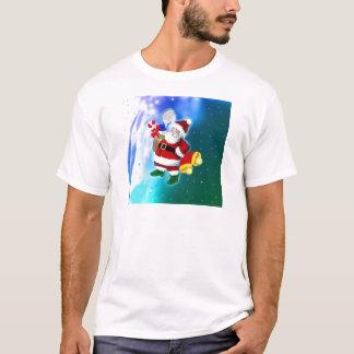 Papai noel com raquete e sinos de tênis camiseta