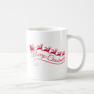 Papai Noel com seus trenó e rena Caneca De Café