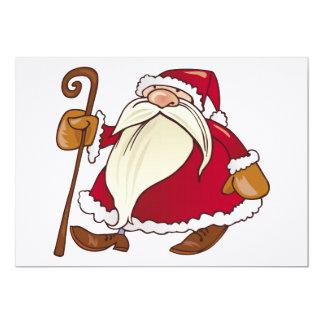 Papai Noel com vara de passeio Convite 12.7 X 17.78cm