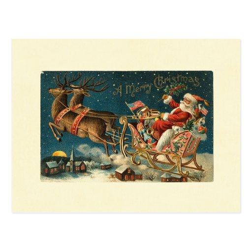 Papai noel de um vintage do Feliz Natal Cartoes Postais