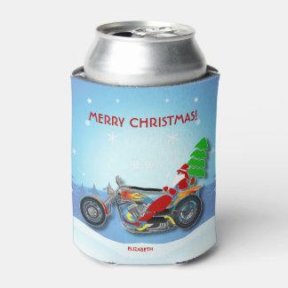 Papai noel do Natal que monta a bicicleta do Porta-lata