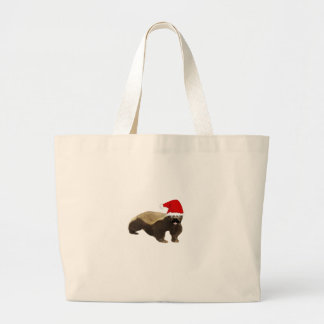 Papai noel do texugo de mel do bigode sacola tote jumbo
