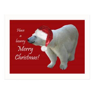 Papai noel do urso polar do cartão do Natal