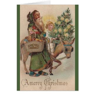 Papai noel do Victorian e cartão de Natal de Jesus