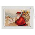 Papai noel do vintage cartão comemorativo