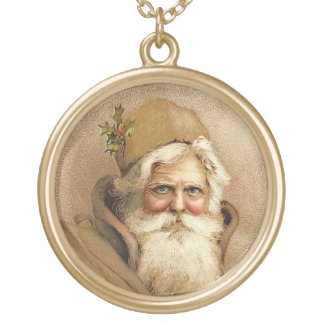 Papai noel do vintage colar banhado a ouro