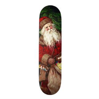 Papai noel do vintage com anjos skateboard