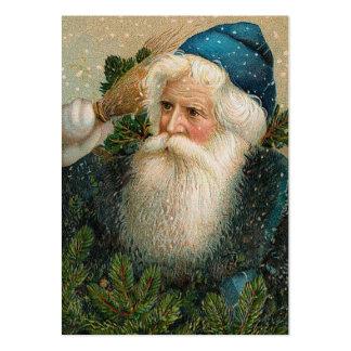 Papai noel do vintage com boné azul cartão de visita grande