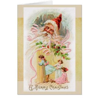 Papai noel do vintage no cartão da manhã de Natal